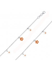 Rhodium silver bracelet with small white and orange flowers 3181156 Suzette et Benjamin 38,00 €