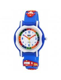 Montre pédagogique QBOS pompier bracelet en silicone bleu 4500023-002 QBOSS 19,90€