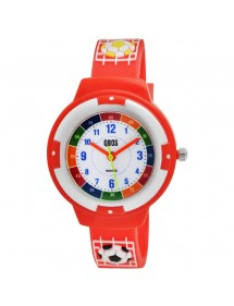 Montre pédagogique QBOS Football bracelet en silicone rouge 4500022-003 QBOSS 19,90€