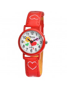 QBOS girl watch bracelet with hearts in red imitation leather 4900002-005 QBOSS 14,00 €