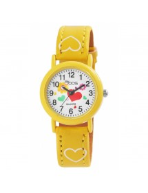 Montre fille QBOS bracelet avec cœurs en similicuir jaune 4900002-004 QBOSS 14,00€