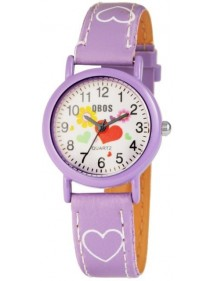 QBOS girl watch bracelet with hearts in purple imitation leather 4900002-003 QBOSS 14,00 €