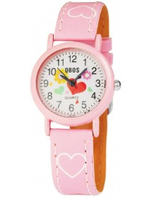 QBOS girl watch bracelet with pink imitation leather hearts 4900002-007 QBOSS 14,00 €