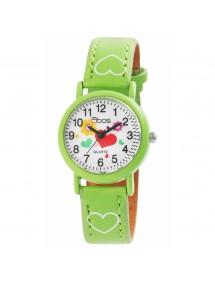 Montre fille QBOS bracelet avec cœurs en similicuir vert 4900002-008 QBOSS 14,00€